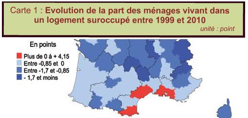 Evolution de la part des ménages vivant dans un logement suroccupé entre 1999 et 2010 (extrait d'un document Insee)