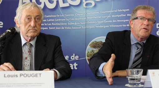 Louis Pouget, vice-président (PS) de l'agglomération de Montpellier en charger de l'eau et Jean-Pierre Moure, président (PS) le 3 juillet 2013 (photo J.-O. T.)