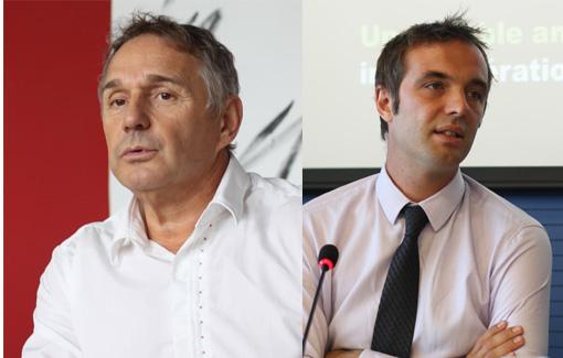 Patrick Vignal, député PS de l'Hérault et Michael Delafosse, adjoint PS à l'urbanisme à Montpellier (photos et montage : J.-O. T.)