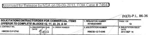 Entête du contrat passé par la NSA avec Vupen en septembre 2012 (publié par muckrock.com)