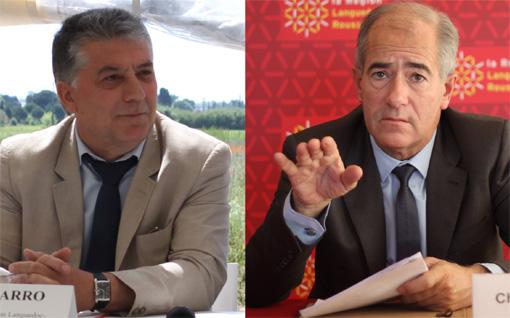Robert Navarro, premier vice-président de la région Languedoc-Roussillon et Christian Bourquin, Sénateur (photos et montage : J.-O. T.)
