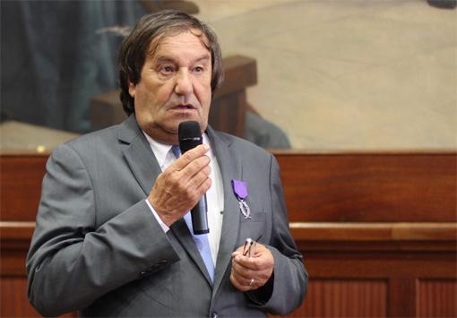 Joël Guénot, ancien directeur départemental de la sécurité publique (DDSP) de l'Hérault lors de la remise de ses palmes académiques le 18 septembre 2013(photo : J.-O. T.)