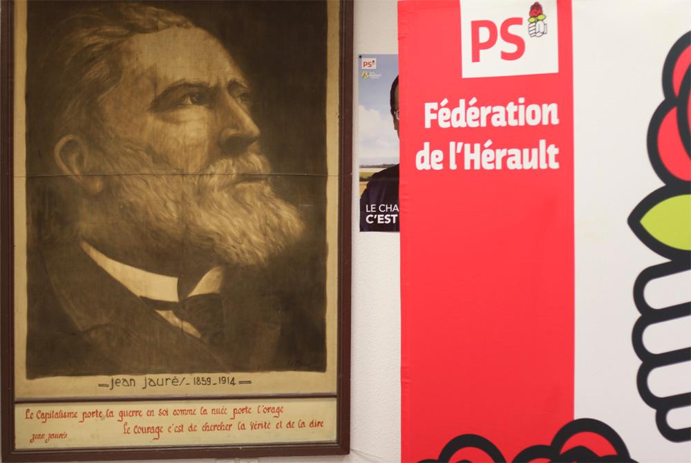 Une photo de Jean Jaurès dans les locaux de la fédération PS de l'Hérault (photo : J.-O. T.)