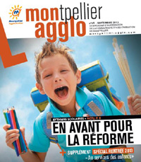 La Une du magazine de l'agglo de Montpellier consacré à la réforme des rythmes scolaires