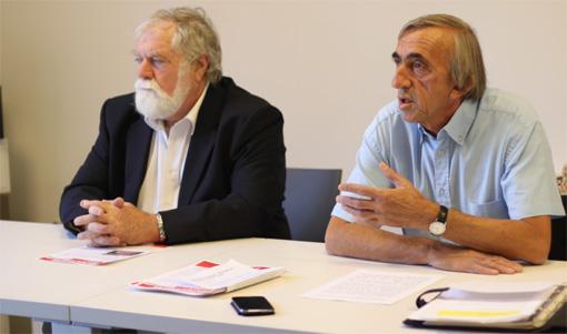 François Liberti et Michel Passet, le 10 septembre 2013 au Club de la presse de Montpellier (photo : J.-O. T.)