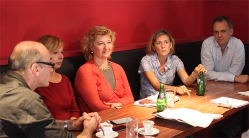 Fabien Nicolas, Patricia Delafoy, Hélène Qvistgaard, Judith Capelier et Laurent Maitre le 5 octobre 2013 (photo : J.-O. T.)