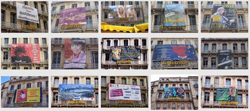 Publicités de La Gazette de Montpellier sur la façade de son immeuble place de la Comédie de mai 2009 au 12 octobre 2013 (photos : J.-O. T.)