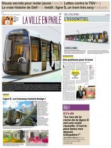 Le design de la ligne 5 du tramway de Montpellier dans La Gazette du 24/10 (montage : J.-O. T.)