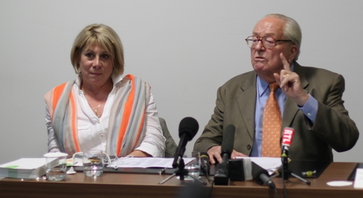 France Jamet et Jean-Marie Le Pen le 18 octobre à l'hôtel Mariott de Montpellier (photo : J.-O. T.)