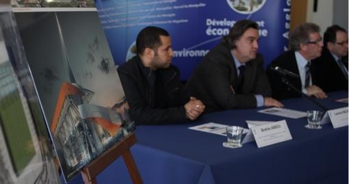 Brahim Abou, Laurent Nicollin, Jean-Pierre Moure et Jacques Martin le 2 février 2013 lors de la présentation des aménagements du stade de La Mosson à Montpellier (photo : J.-O. T.)