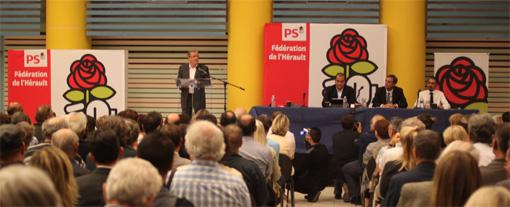 Réunion des trois candidats à la primaire PS de Montpellier le 8 octobre 2013 (photo : J.-O. T.)