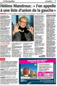 Page 3 de Midi Libre du 26 février 2013 sur Hélène Mandroux (PS)