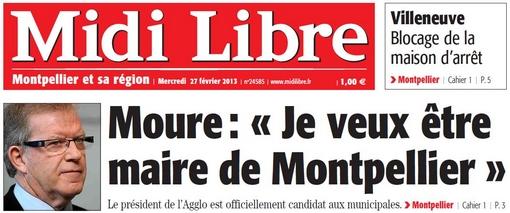 Extrait de la Une de Midi Libre du 27 février 2013 sur Jean-Pierre Moure (PS)