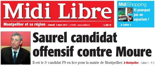 Extrait de la Une de Midi Libre du 2 mars 2013 sur Philippe Saurel (PS)