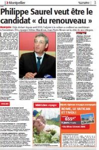 Page 3 de Midi Libre du 2 mars 2013 sur Philippe Saurel (PS)