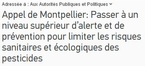 Appel de Montpellier contre les pesticides (copie d'écran de la pétition)