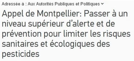 Appel de Montpellier contre les pesticides (copie d'écran de la pétition)