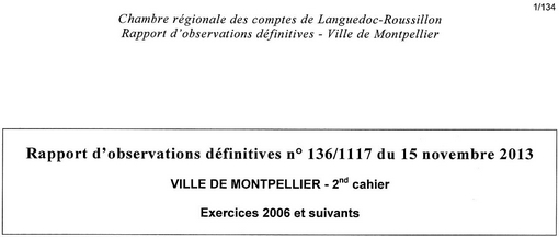 Entête du rapport définitif 2013 de la chambre régionale des comptes du Languedoc-Roussillon sur la gestion de la ville de Montpellier