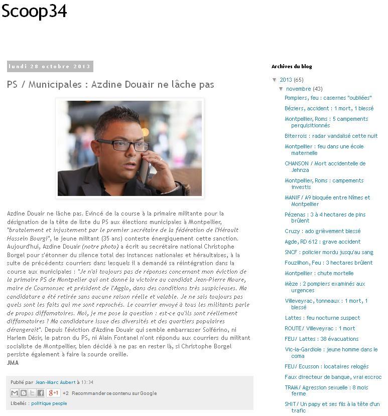 Copie d'écran de l'article du site http://scoop34.blogspot.fr/ de Jean-Marc Aubert où une photo appartenant à Jacques-Olivier Teyssier a été publiée sans autorisation