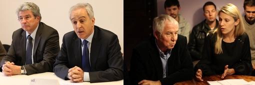 Raymond Couderc, secrétaire de l'UMP de l'Hérault et Joseph Francis, son homologue de l'UDI d'un côté et de l'autre Félix Allary (Modem) qui a fait alliance avec Anne Brissaud tête de liste UDI à Montpellier pour les municipales 2014 (photos : J.-O. T.)