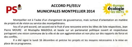Entête de l'accord EELV-PS pour les municipales 2014 signé par Jean-Pierre Moure (PS) et Mustapha Majdoul et daté du 16 décembre 2013