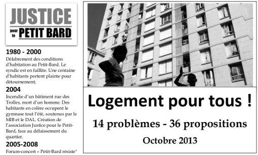 Entête du document de Justice pour le Petit Bard sur le logement, octobre 2013