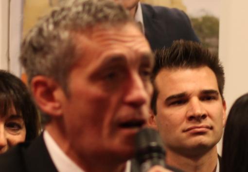 Philippe Saurel et Ghislain Balsan le 2 décembre 2012 lors de l'annonce officielle de la candidature du premier à la mairie de Montpellier (photo : J.-O. T.)