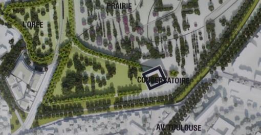 La future Cité des arts et de la musique qui doit accueillir le conservatoire dans le parc Montcalm de Montpellier (photo J.-O. T. d'un document : mairie de Montpellier)