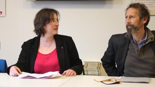 Muriel Ressiguier, tête de liste Front de gauche à Montpellier et Roger Moncharmont (PCF) le 18 décembre 2013 (photo : J.-O. T.)