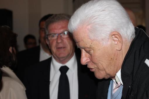Jean-Pierre Moure et Marcel Salerno le 14 mai 2013 lors de l'inauguration du local de campagne du premier (photo : J.-O. T.)