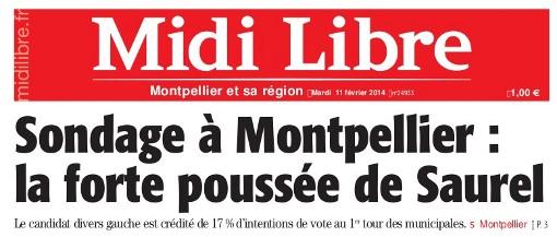 Extrait de la Une de Midi Lire du 11 février 2014 qui titre sur le sondage commandé par Philippe Saurel