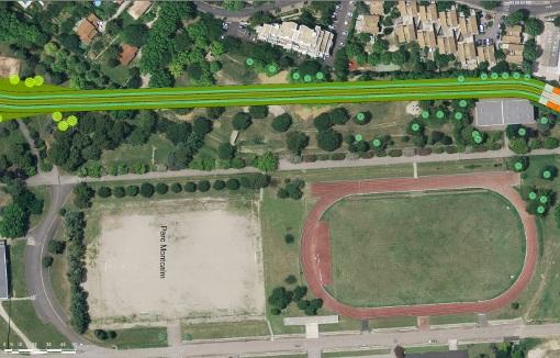 Le tracé de la ligne 5 du tramway de Montpellier dans le parc Montcalm (photo : site de l'agglomération de Montpellier, 16 mars 2014)