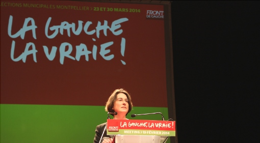 Muriel Ressiguier, tête de liste Front de gauche pour les municipales à Montpellier, lors du meeting de la liste le 19 février 2014 au Zenith (photo : J.-O. T.)