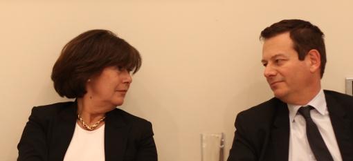 Claudine Frêche, directrice d'ACM et Thierry Laget, directeur de la Serm le 15 avril 2014 ont assisté au conseil d'agglo de Montpellier qui a élu Philippe Saurel, président (photo : J.-O. T.)