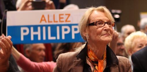 Hélène Mandroux, maire sortant de Montpellier, au meeting de soutien à Philippe Saurel le 28 mars (photo : J.-O. T.)