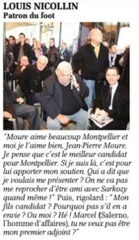 Dans La Gazette de Montpellier, le 28 février 2013, Louis Nicollin soutient Jean-Pierre Moure (extrait du journal)