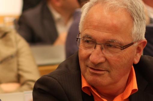 René Revol, vice-président de l'Agglo, en conseil d'agglomération de Montpellier le 15 avril 2014 (photo : J.-O. T.)