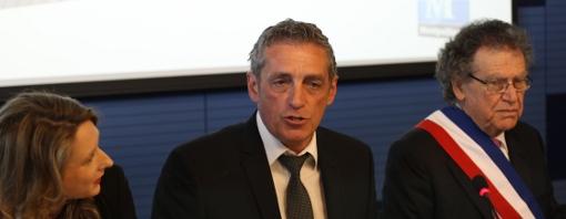 Stéphanie Jannin, première adjointe, Philippe Saurel, maire de Montpellier, Max Lévita, 2e adjoint le 5 avril 2014 (photo : J.-O. T.)