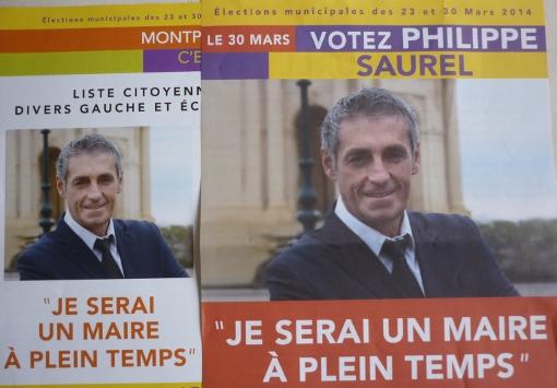 """""""Je serai un maire à plein temps"""", était-il écrit sur les tract de Philippe Saurel pendant la campagnes des municipales 2014 à Montpellier (photo : J.-O. T.)"""