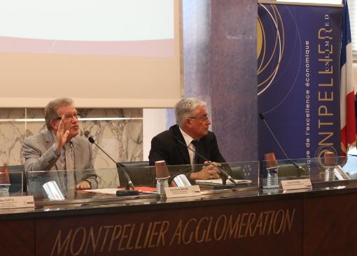 Jean-Pierre Moure, ancien président (PS) de l'agglomération de Montpellier, et Gilbert Pastor, ancien vice-président PS, à une opération de communication de Montpellier unlimited le 9 mai 2013 (photo : J.-O. T.)