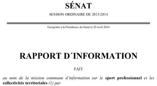 """Entête du rapport de la mission du Sénat """"d'information sur le sport professionnel et les collectivités territoriales"""""""