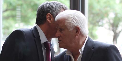 Philippe Saurel, maire de Montpellier et Marcel Salerno lors de l'inauguration du magasin La Halle le 27 mai 2014 (photo : J.-O. T.)