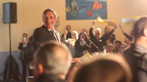 Philippe Saurel le 20 mars 2014 lors de son meeting au gymnase des Beaux-arts à Montpellier (photo : J.-O. T.)