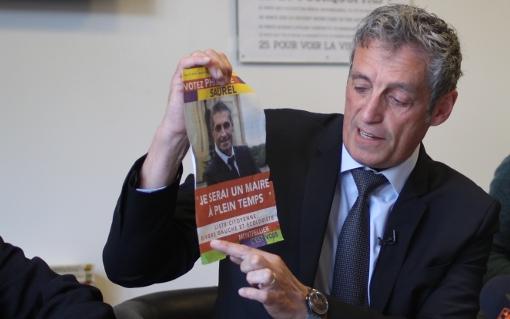 Philippe Saurel lors de sa dernière conférence de presse de campagne des municipales à Montpellier le 27 mars 2014 (photo : J.-O. T.)