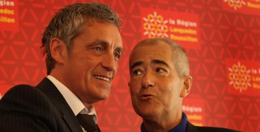 Philippe Saurel et Christian Bourquin le 21 mai 2014. Le temps des sourires est aujourd'hui révolu. (photo : J.-O. T.)