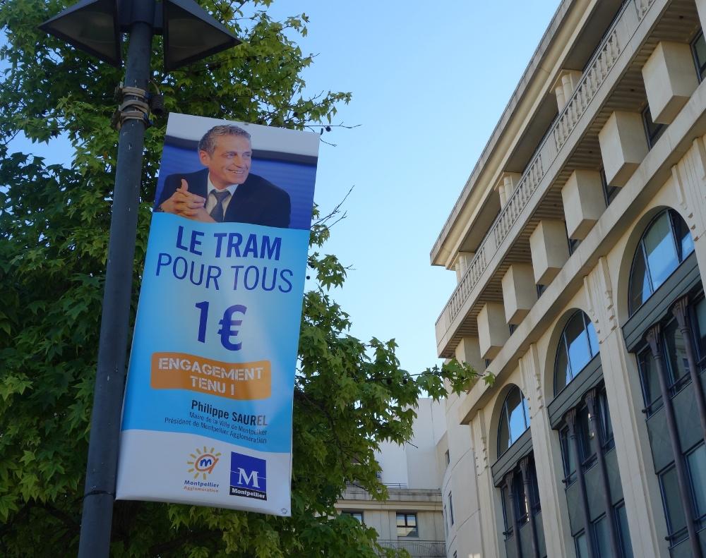 Publicité à la gloire de Philippe Saurel le 12 septembre 2014 à Montpellier (Antigone) (photo : J.-O. T.)