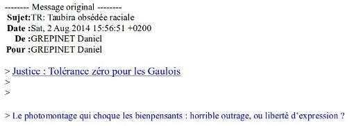 Entête du mail retransmis par Daniel Grépinet, adjoint au maire UMP de Castelnau-le-Lez, Jean-Pierre Grand