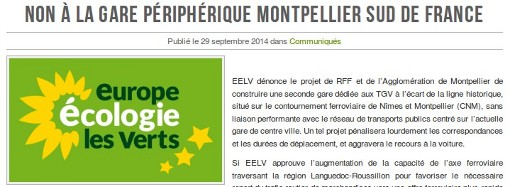 Eelv national d nonce le projet de nouvelle gare tgv montpellier mont - Journal de montpellier ...
