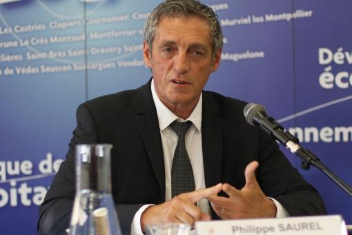 Philippe Saurel, président (divers droite) de l'agglomération de Montpellier, le 3 juin 2014 (photo : J.-O. T.)