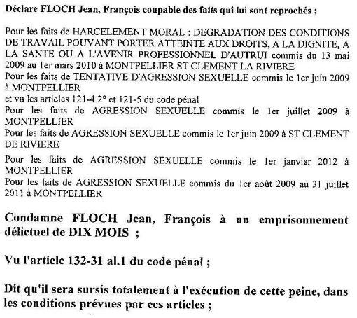 Extrait du jugement du tribunal correctionnel de Montpellier du 17 juin 2014 condamnant Jean-François Floch à 10 mois de prison avec sursis